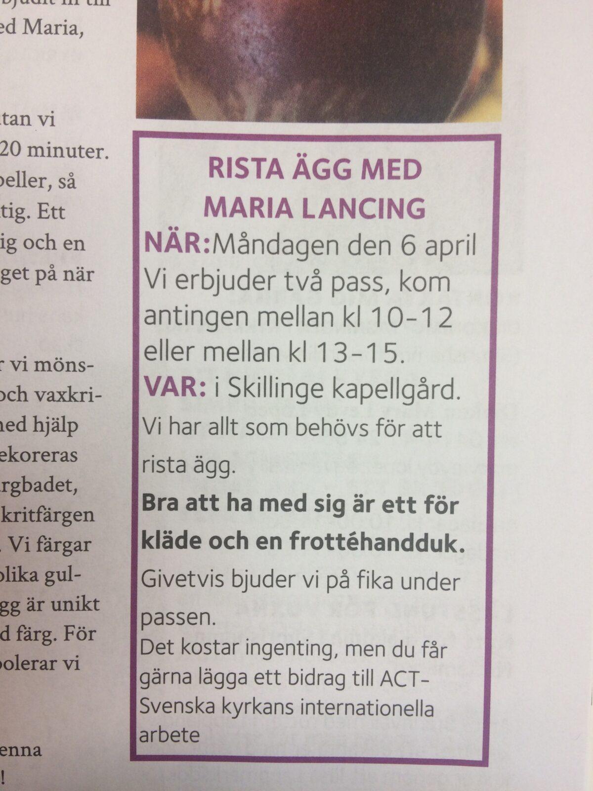 Rista ägg med Maria Lancing